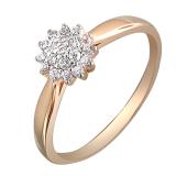 Кольцо Звезда с фианитами из красного золота