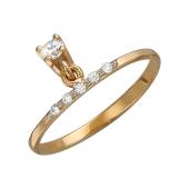 Кольцо тонкое с подвесом и фианитами, красное золото