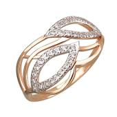 Кольцо Листья с фианитами, красное золото