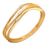 Кольцо три нити с фианитами из красного золота