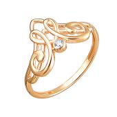 Кольцо Диадема с одним фианитом, красное золото