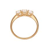 Кольцо с тремя фианитами Сваровски, красное золото