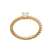 Кольцо канатное с одним фианитом, красное золото