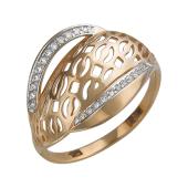 Кольцо с фианитами из красного золота