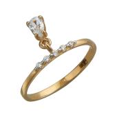 Кольцо тонкое с подвеской и фианитами, красное золото