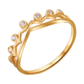 Кольцо Корона с фианитами из красного золота