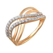Кольцо Бесконечность с фианитами из красного золота