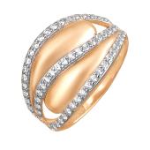 Кольцо широкое с фианитами, красное золото