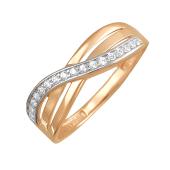Кольцо Бесконечность с фианитами, красное золото