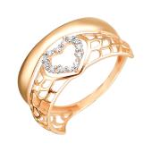 Кольцо Сердце с фианитами из красного золота