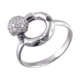 Кольцо Небо с сердечками и вращающимся шариком с фианитами, белое золото 585 проба