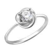 Кольцо Роза с круглым фианитом, белое золото 585 проба