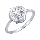 Кольцо Цветок с фианитами, белое золото 585 проба