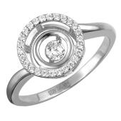 Кольцо с фианитами из белого золота 585 пробы