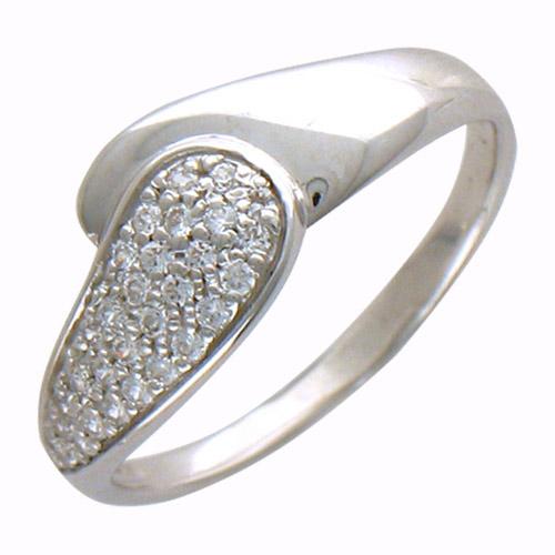 Кольцо из белого золота с 30 фианитами весом 0,45 карат. Серьги Каффы из желтого золота 585 пробы