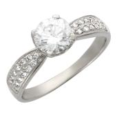 Кольцо Прага, белое золото, шинка узкая снизу, сверху фианит бриллиантовой огранки