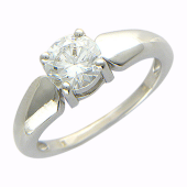 Кольцо, белое золото 1 крупный фианит
