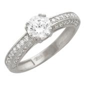 Кольцо фантазийное с фианитами для помолвки, белое золото
