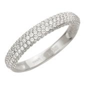 Кольцо Дорожка с фианитами, белое золото средней толщины