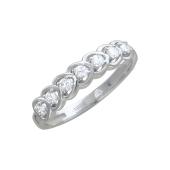 Кольцо Дорожка с сердечками и фианитами, белое золото