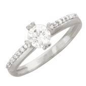 Кольцо с фианитами, белое золото 585 пробы