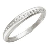 Кольцо, дорожка с фианитами по диагонали, белое золото