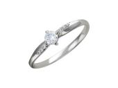 Кольцо, белое золото, классическое, семь фианитов