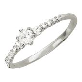 Кольцо Дорожка классическое, одиннадцать фианитов, белое золото