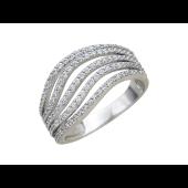 Кольцо широкая шинка, пять изогнутых дорожек из фианитов, белое золото
