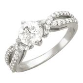 Кольцо, белое золото, крупный фианит, две спиралевые дорожки из фианитов