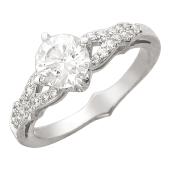 Кольцо, белое золото, крупный фианит, две дорожки из фианитов
