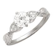 Кольцо, белое золото, один крупный фианит, две спирали с фианитами