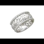 Кольцо, белое золото, широкая шинка, прожилки в виде листьев, окантовка из фианитов