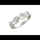 Кольцо, белое золото, средняя шинка, алмазная огранка, фианиты, хоровод бабочек