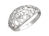Кольцо, белое золото, широкая выпуклая шинка, контуры круги и овалы с фианитами