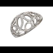Кольцо, белое золото, широкая выпуклая шинка, переплетающиеся овалы с фианитами и контуры овалов и кругов