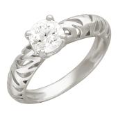 Кольцо, один крупный фианит, тигровые вырезы по шинке, белое золото
