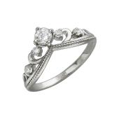 Кольцо Корона с фианитами, белое золото 585 пробы