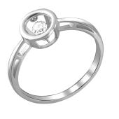 Кольцо Impulse с танцующим фианитом, белое золото 585 пробы