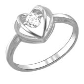 Кольцо Impulse сердце с танцующим фианитом, белое золото 585 пробы