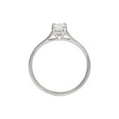 Кольцо Солитер с фианитом Сваровски и фианитом в торце, белое золото