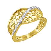 Кольцо ажурное с фианитами из желтого золота