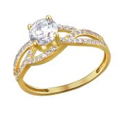 Кольцо с россыпью фианитов, желтое золото 585 пробы