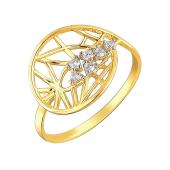 Кольцо с ажурным узором и фианитами, желтое золото 585 пробы