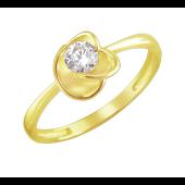 Кольцо Цветок с круглым фианитом из желтого золота 585 пробы