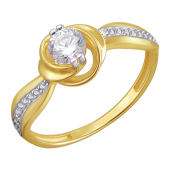 Кольцо Роза с дорожками фианитов по бокам, желтое золото 585 пробы