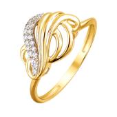 Кольцо с прозрачными фианитами из желтого золота 585 пробы