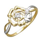 Кольцо Роза с фианитами из желтого золота 585 пробы