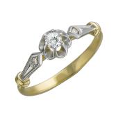 Кольцо Роза с фианитами из желтого золота