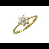 Кольцо Цветок из семи фианитов, желтое золото